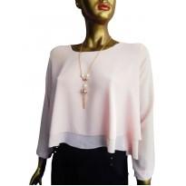 Bluza asimetrica din voal de culoare roz deschis