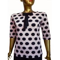 Bluza  casual roz deschis cu imprimeu buline negre