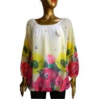 Bluza cu print floral multicolor si trandafiri