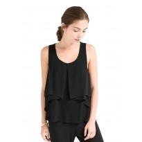 Bluza Dama eleganta cu croiala ampla fara maneci, de culoare neagra