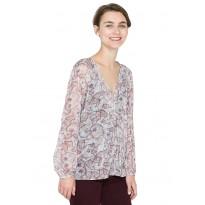 Bluza de Dama din voal, cu imprimeu floral si maneci lungi