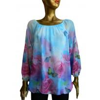 Bluza eleganta cu print floral multicolor