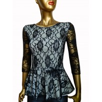 Bluza eleganta de culoare neagra, cu peplum design asimetric