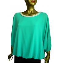 Bluza lejera din voal cu maneca stil fluture verde