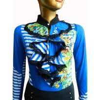 Bluza tip body, albastra, cu imprimeuri in nuante multicolore si jabou