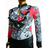 Bluza tip body cu imprimeuri si jabou