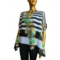 Bluza voal asimetrica, cu imprimeu floral si dungi