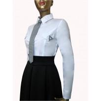 Camasa office eleganta, de culoare alba cu maneca lunga, cambrata pe corp CADOU: cravata cu model pepit de culoare alb/negru