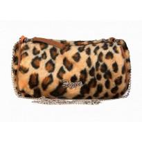 Geanta Segue casual din blanita cu design animal print leopard