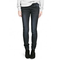 Jeans dama slim-fit, din denim prespalat cu talie normala, de culoare neagra