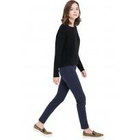 Pantaloni dama Slim fit, cu talie inalta din bumbac de culoare bleumarin