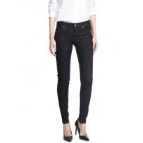 Pantaloni jeans dama super slim-fit, cu talie joasa de culoare albastru inchis
