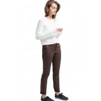 Pantaloni slim dama din bumbac, de culoare maro