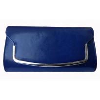 Poseta plic casual, de culoare albastra, cu decoratiune metalica