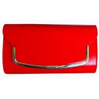 Poseta plic casual, de culoare rosie, cu decoratiune metalica