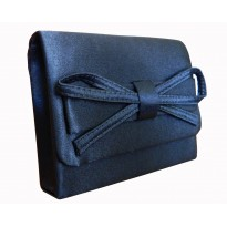 Poseta  plic eleganta, din satin de culoare albastra