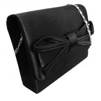 Poseta  plic eleganta, din satin de culoare neagra