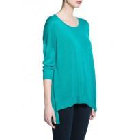Pulover trendy, de culoare verde si lungime asimetrica