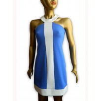 Rochie casual Isabel de culoare albastra cu alb