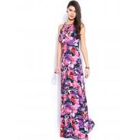 Rochie de ocazie, lunga, cu imprimeu floral colorat