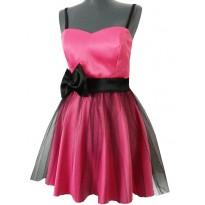 Rochie de seara roz din satin si tul Antonia