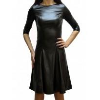 Rochie din piele ecologica de culoare neagra evazata