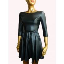 Rochie din piele ecologica de culoare neagra  model clos