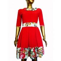 Rochie eleganta, de culoare rosie cu insertii imprimeuri traditionale Red Flower