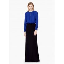 Rochie eleganta in contrast, in nuante de albastru si negru