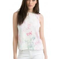 Tricou Dama, alb cu imprimeu tropical