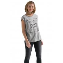 Tricou dama, casual din bumbac cu mesaj gri imprimat